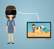 Virtual reality concept in flat style. VR gaming. woman wearing Stock Photo