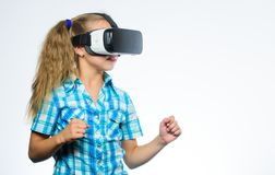 Virtual reality concept. Kid explore modern technology virtual reality. Virtual education for school pupil. Girl cute. Child with head mounted display on white royalty free stock photos