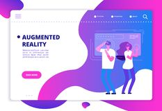 Virtual reality concept. People with vr future gadgets. Web site vector template royalty free illustration