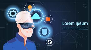 Virtual Reality Concept Portrait Of Senior Man Wearing Vr Headset Glasses Digital Goggles Stock Photography