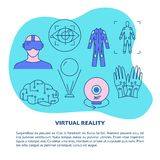 Virtual reality concept poster template in line style. Modern computer technology symbols. Vector illustration with place for text royalty free illustration