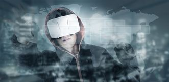 Virtual reality concept. With city background and buildings royalty free stock photography