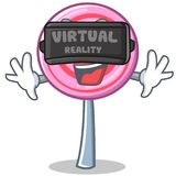 With virtual reality cute lollipop character cartoon. Vector illustration Stock Photos