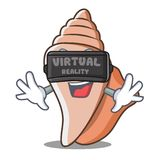 With virtual reality cute shell character cartoon Royalty Free Stock Image