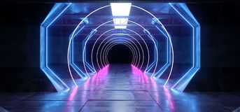 Virtual Reality Cyber Sci Fi Futuristic Neon Glowing Alien Ship Space Tunnel Corridor Glowoing Vibrant Fluorescent Laser Blue. Purple Pink Reflective Floor stock illustration