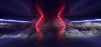 Free Virtual Reality Cyber Smoke Fog Steam Corridor Tunnel With Neon Laser Light Lines Glowing Red Blue On Concrete Grunge Floor Alien Royalty Free Stock Photos - 162527218
