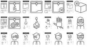 Virtual reality and 3D technology line icon set. Royalty Free Stock Photo