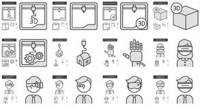 Virtual reality and 3D technology line icon set. Stock Photo
