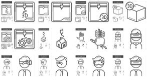Virtual reality and 3D technology line icon set. Royalty Free Stock Images