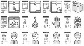 Virtual reality and 3D technology line icon set. Stock Images