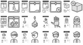 Virtual reality and 3D technology line icon set. Royalty Free Stock Photography