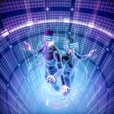 Virtual reality datasphere teamwork. 3D illustration of male and female figures in virtual gear working together in glowing cyber environment Royalty Free Stock Photos