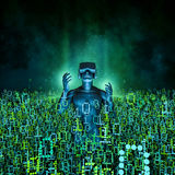 Virtual reality dawn. 3D illustration of man wearing virtual reality glasses surrounded by binary data Stock Photography