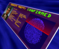 A virtual reality display confirming identity theft. Showing a fingerprint scan, a portrait and personal data stock images