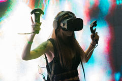 Virtual reality DJ system during VRLA Expo Summer Stock Photo