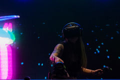 Virtual reality DJ system during VRLA Expo Summer Royalty Free Stock Images