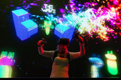 Virtual reality DJ system during VRLA Expo Summer Royalty Free Stock Photography