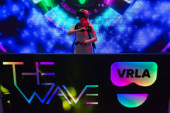 Virtual reality DJ system during VRLA Expo Summer Stock Photos