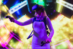 Virtual reality DJ system during VRLA Expo Summer Stock Images