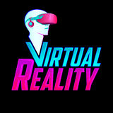 Virtual Reality emblem, headset vector modern illustration icon. Royalty Free Stock Image