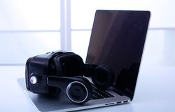 Virtual reality equipment in the laboratory Laptop with remote diagnostic medical equipment stock images