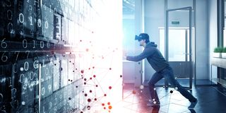 Virtual reality experience. Man in VR glasses royalty free stock images