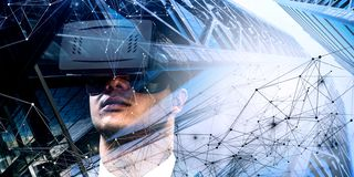 Virtual reality experience. Technologies of the future. Mixed media royalty free stock photography