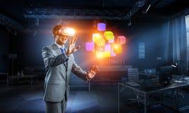Virtual reality experience. Technologies of the future. Mixed media royalty free stock image