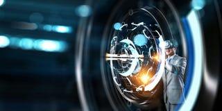 Virtual reality experience. Technologies of the future. Mixed media stock image