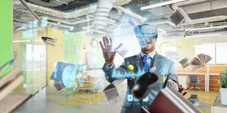 Virtual reality experience. Technologies of the future. Mixed media royalty free stock images