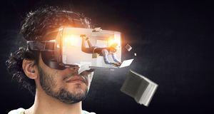 Virtual reality experience. Technologies of the future. Mixed media stock photography