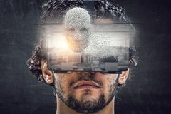 Virtual reality experience. Technologies of the future. Mixed media stock illustration