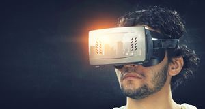 Virtual reality experience and technologies of the future. Mixed media royalty free stock images