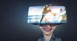Virtual reality experience and technologies of the future. Mixed media royalty free stock image