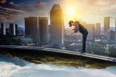 Virtual reality experience. Technologies of the future. Mixed media royalty free stock photo
