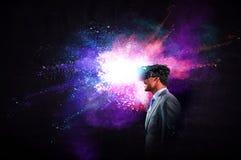 Virtual reality experience. Technologies of the future. Mixed media stock photos