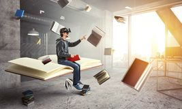 Virtual reality experience, young man in VR glasses royalty free illustration