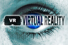 Virtual reality eye looks at viewer concept Stock Photos