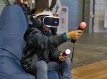 Virtual reality game on Kiev Plug-in Ukraine 2017 Exhibition. Royalty Free Stock Photography