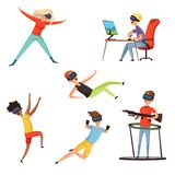 Virtual reality gamer. Funny and happy characters playing online games VR helmet virtual headset or glasses. Vector royalty free illustration