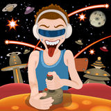 Virtual reality gamer. Vector illustration of a virtual reality gamer vector illustration