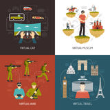 Virtual Reality Games 2x2 Design Concept. Virtual reality 2x2 design concept set of car war museum and travel VR games icons collection flat vector illustration Royalty Free Stock Image
