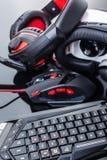 Virtual reality gaming gear set Stock Photos