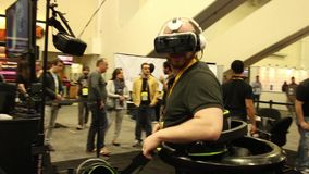 Virtual Reality Gaming: Morpheus Goggles while Running on VR platform with goggles stock video