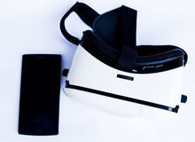 Virtual reality glasses box and smartphone  Stock Photo