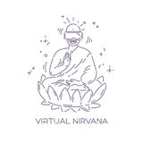 Virtual reality glasses on Buddha. VR headset advertising concept. Virtual nirvana. Dotted line vector illustration Stock Images