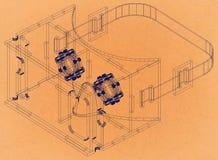 Virtual Reality Glasses Concept - Retro Architect Blueprint. Shoot Of the Virtual Reality Glasses Concept - Retro Architect Blueprint stock illustration