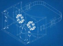 Virtual Reality Glasses Design Architect Blueprint. Shoot Of The Virtual Reality Glasses Design Architect Blueprint vector illustration