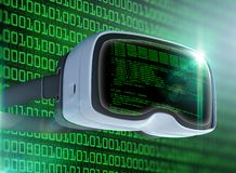 Virtual reality glasses, futuristic hacker, internet technology and network concept Royalty Free Stock Photos