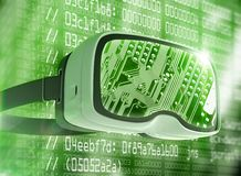 Virtual reality glasses, futuristic hacker, internet technology and network concept Royalty Free Stock Image